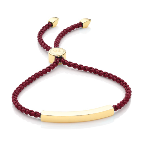 Gold Vermeil Linear Friendship Bracelet - Dark Wine Cord