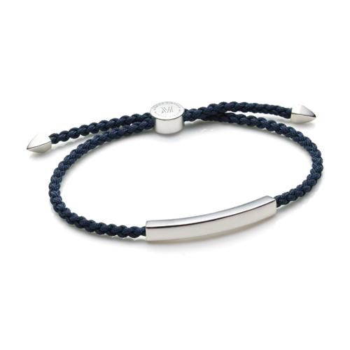 Linear Large Mens Friendship Bracelet - Denim Blue Cord