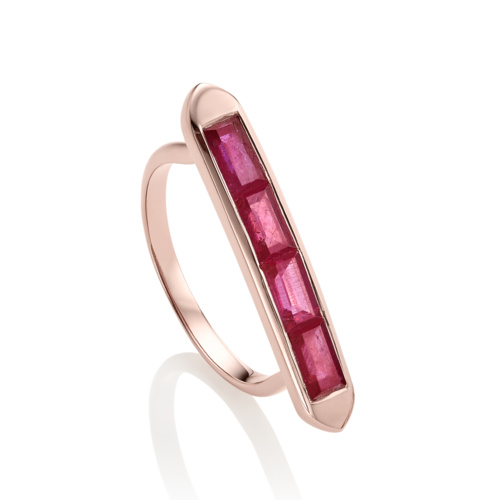 Rose Gold Vermeil Baja Precious Skinny Ring - Ruby