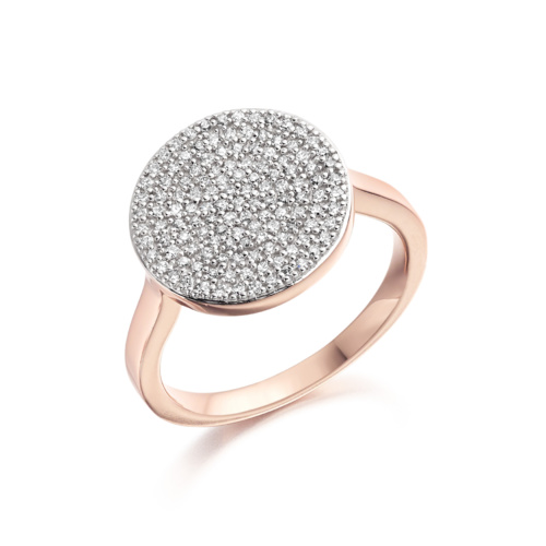 Rose Gold Vermeil Ava Disc Ring - Diamond - Monica Vinader