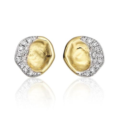 Gold Vermeil Riva Diamond Shore Stud Earring - Diamond - Monica Vinader