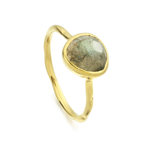 Gold Vermeil Siren Stacking Ring - Labradorite - Monica Vinader