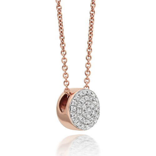 Rose Gold Vermeil Fiji Button Necklace - Diamond - Monica Vinader
