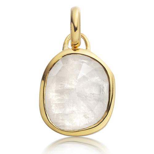 Gold Vermeil Siren Medium Bezel Pendant - Moonstone - Monica Vinader