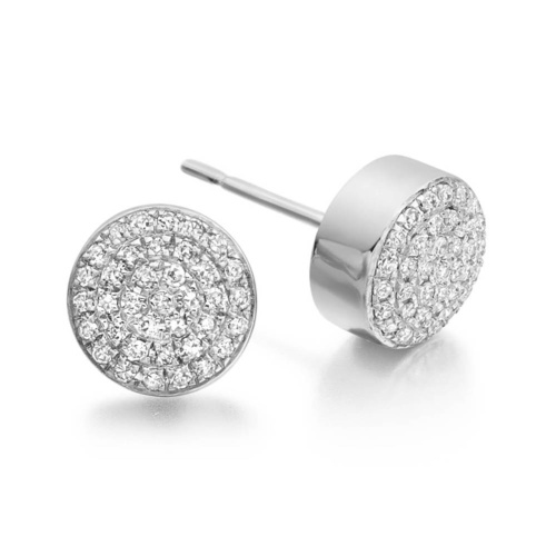 Fiji Button Stud Earrings - Diamond - Monica Vinader