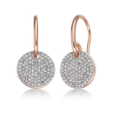 Rose Gold Vermeil Ava Disc Drop Earrings - Diamond - Monica Vinader