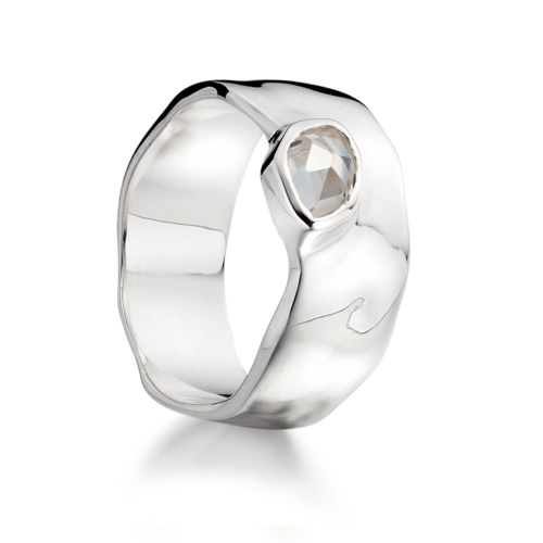 Siren Wide Band - White Topaz - Monica Vinader