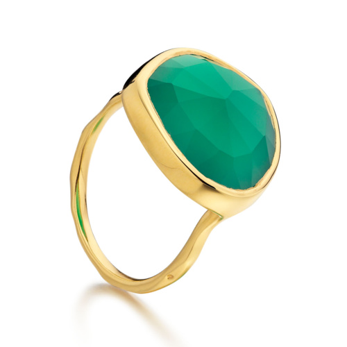 Gold Vermeil Siren Ring - Green Onyx - Monica Vinader