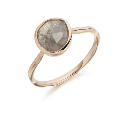 Rose Gold Vermeil Siren Stacking Ring - Labradorite - Monica Vinader