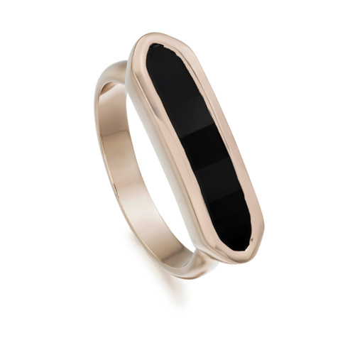Rose Gold Vermeil Baja Ring - Black Onyx - Monica Vinader