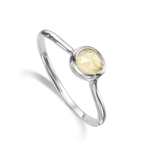 Sterling Silver Siren Small Stacking Ring - Citrine