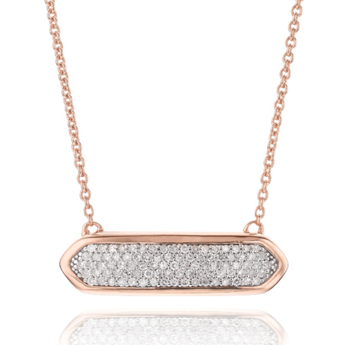 Rose Gold Vermeil Baja Mini Necklace - Diamond - Monica Vinader