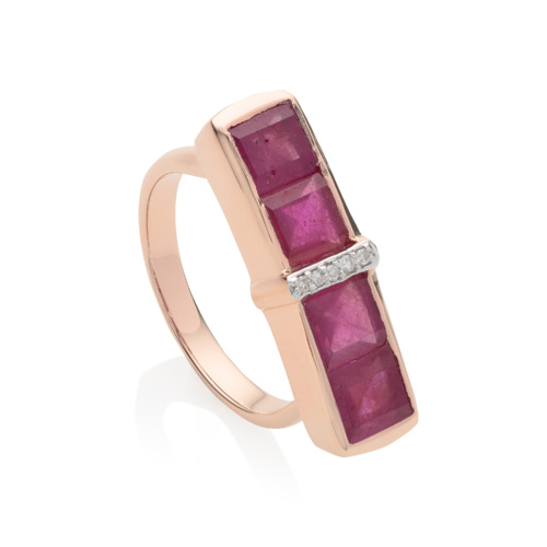 Rose Gold Vermeil Baja Precious Ring - Ruby - Monica Vinader