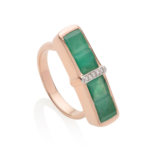 Rose Gold Vermeil Baja Precious Ring - Emerald - Monica Vinader