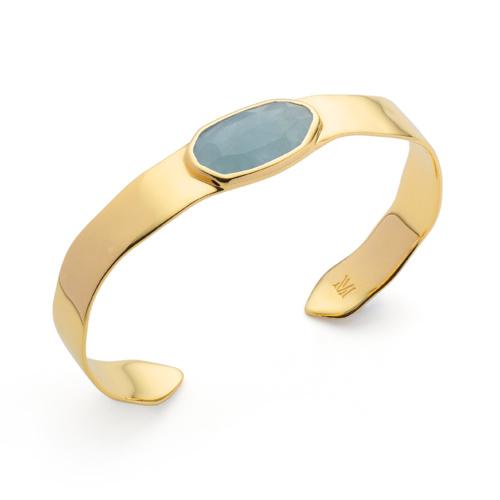 Gold Vermeil Capri Thin Cuff - Aquamarine