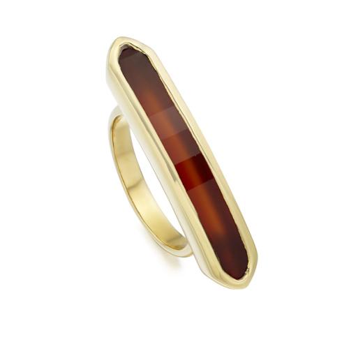 Gold Vermeil Baja Long Ring - Red Onyx - Monica Vinader