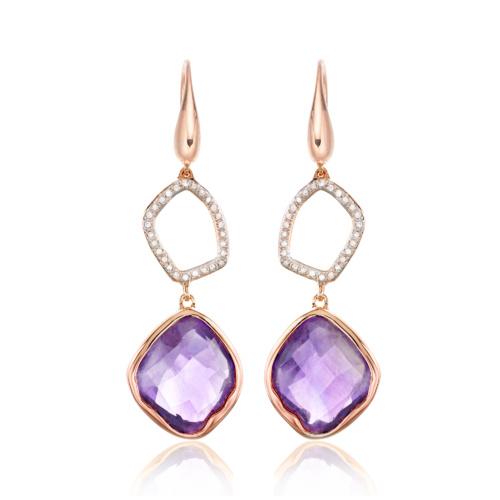Rose Gold Vermeil Riva Diamond Cocktail Earrings - Amethyst - Monica Vinader