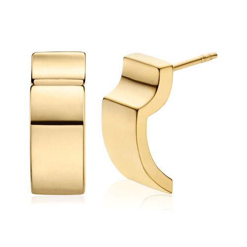 Gold Vermeil Signature Wide Earrings - Gold - Monica Vinader