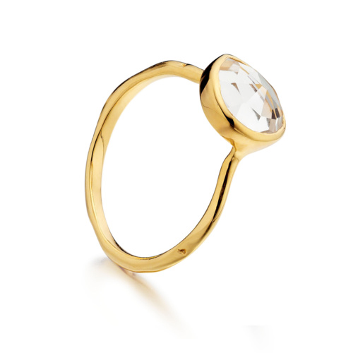 Gold Vermeil Siren Stacking Ring - White Topaz - Monica Vinader