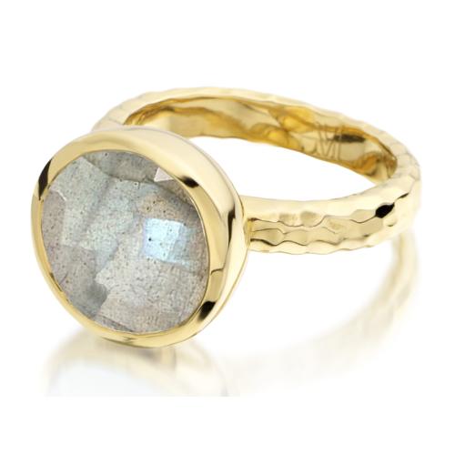 Gold Vermeil Medina Facet Ring - Labradorite - Monica Vinader