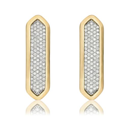 Gold Vermeil Baja Long Stud Earrings - Diamond - Monica Vinader