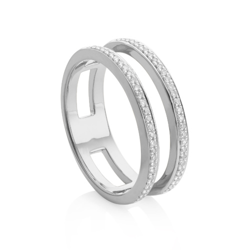 Skinny Diamond Double Band Ring