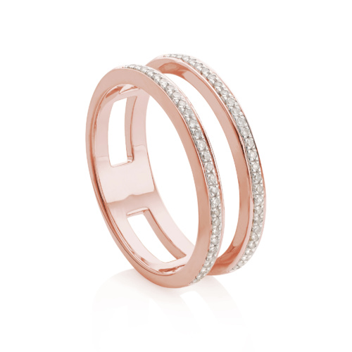 Rose Gold Vermeil Skinny Diamond Double Band Ring