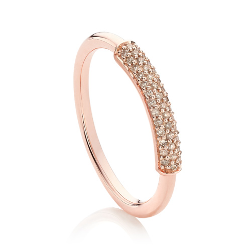 Rose Gold Vermeil Stellar Diamond Stacking Ring - Champagne Diamond - Monica Vinader
