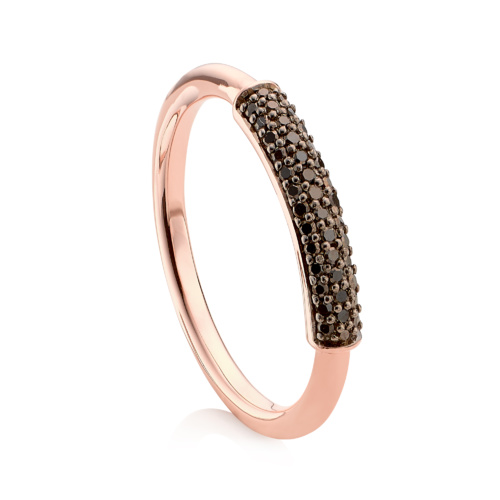 Rose Gold Vermeil Fiji Diamond Stacking Ring - Black Diamond - Monica Vinader