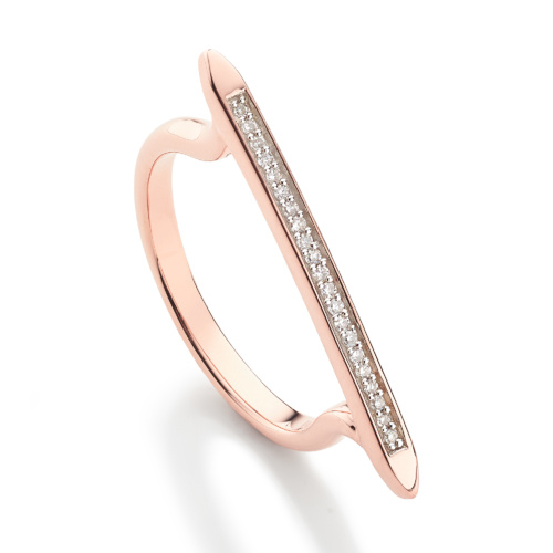 Rose Gold Vermeil Skinny Stacking Ring - Diamond