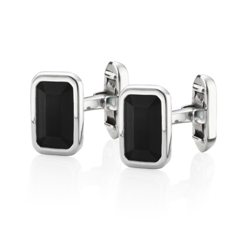 Gem Rectangle Cufflinks - Black Onyx