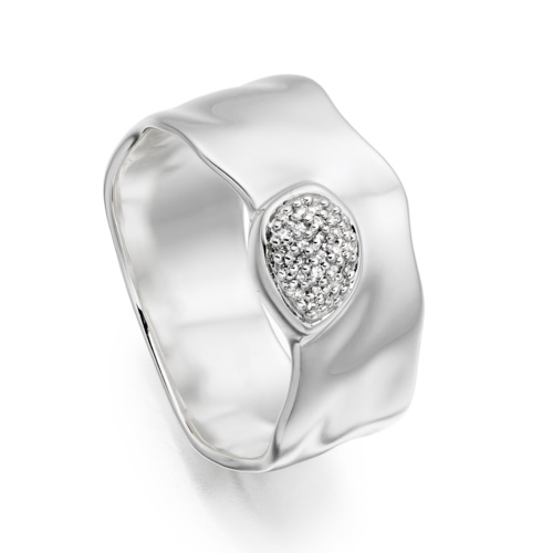 Siren Diamond Wide Band Ring - Diamond - Monica Vinader