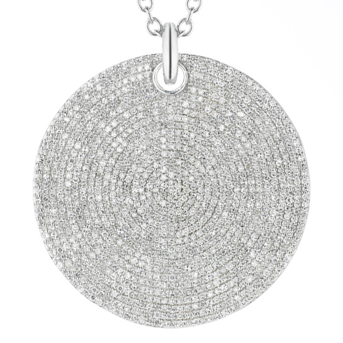 Ava Large Disc Pendant - Diamond - Diamond - Monica Vinader