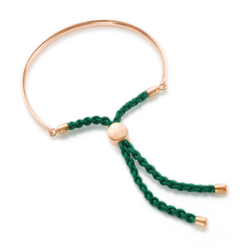 Rose Gold Vermeil Fiji Friendship Petite Bracelet - Racing Green