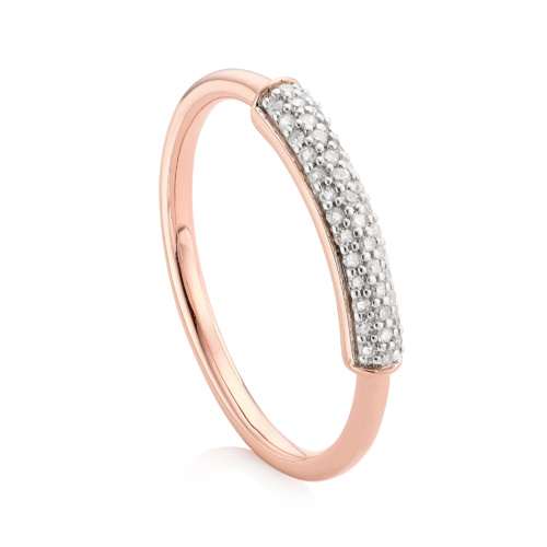 Rose Gold Vermeil Stellar Stacking Ring - White Diamonds
