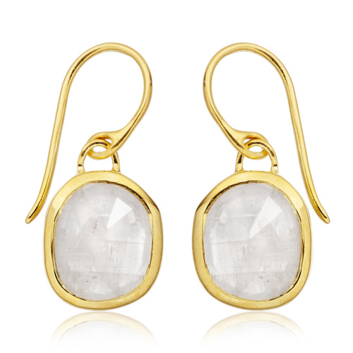 Gold Vermeil Siren Wire Earrings - Moonstone - Monica Vinader