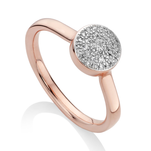 Rose Gold Vermeil Ava Button Ring - Diamond