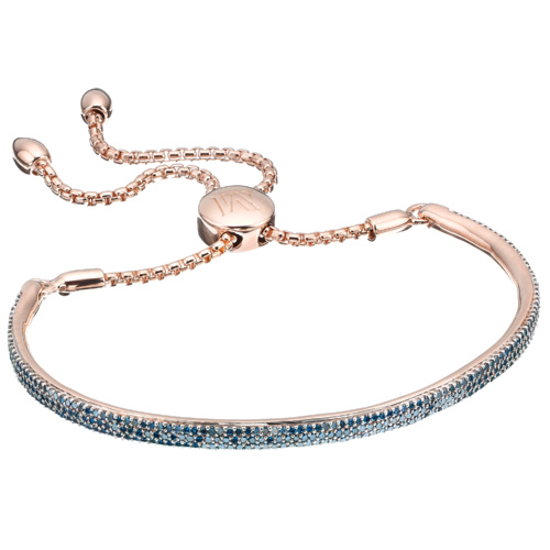 18ct Rose Gold Vermeil Full Fiji Pave Chain Bracelet - Blue Diamond