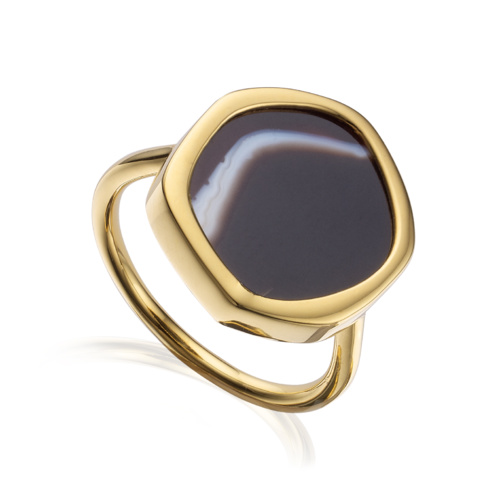 Gold Vermeil Atlantis Gem Ring - Line Onyx