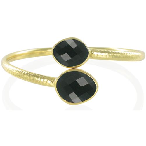 Gold Vermeil Slink Bracelet - Black Onyx - Monica Vinader