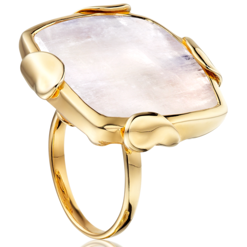 Gold Vermeil Lace Square ring - Monica Vinader