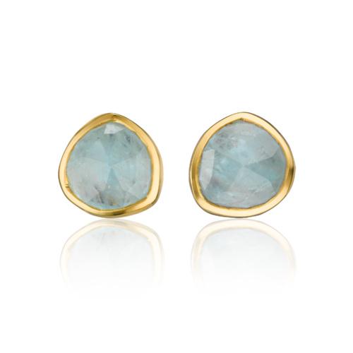 Gold Vermeil Siren Stud Earrings - Aquamarine