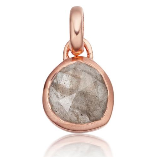 Rose Gold Vermeil Mini Siren Bezel Pendant - Labradorite - Monica Vinader