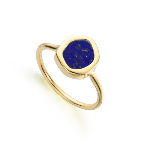 Gold Vermeil Atlantis Gem Mini Stacking Ring - Lapis - Monica Vinader