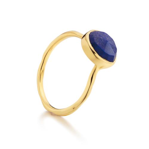 Gold Vermeil Siren Stacking Ring - Lapis - Monica Vinader
