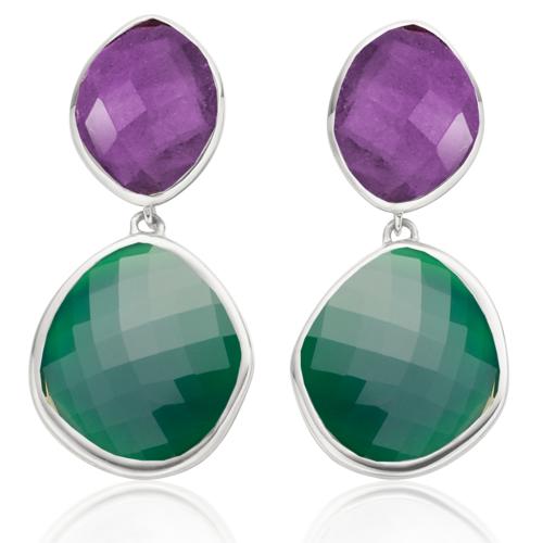 Medium Nugget Drop Earrings - Green Onyx - Monica Vinader