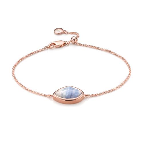 Rose Gold Vermeil Siren Teardrop Bracelet - Blue Lace Agate