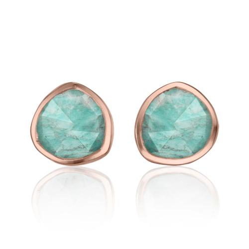 Rose Gold Vermeil Siren Stud Earrings - Amazonite