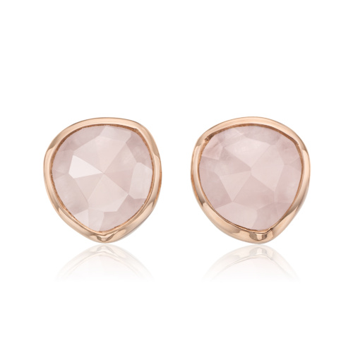 Rose Gold Vermeil Siren Stud Earrings - Rose Quartz