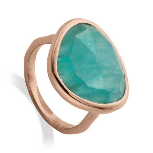 Rose Gold Vermeil Siren Ring - Amazonite